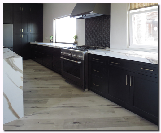 Custom RTA Kitchen cabinets featuring Black Shaker Pantry and Built In Refrigerator