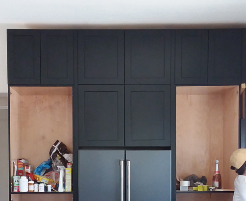 Custom RTA Pantry Cabinets with black shaker doors