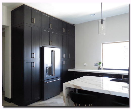 Custom RTA Kitchen cabinets featuring Black Satin Shaker