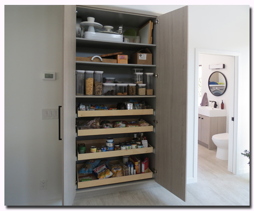 Custom RTA Kitchen Pantry with Roll Out Trays with Cleaf Bagnola